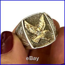 M & GN Sterling Silver 10K Solid Gold Diamond Eagle Mens Ring VTG Size 11