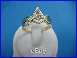 Masonic Compass Men`s Vintage Ring With Diamonds And 2 Turquoise, Ring Size 14