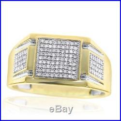 Men Diamond Ring Round Diamond Yellow Gold Finish Vintage Pinky Wedding Ring