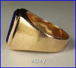 Men's 13.7g Heavy 18K Yellow Gold Square Lapis Lazuli Ring Estate Sz 9.75 Vtg