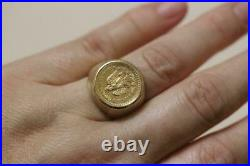 Men's 14K Yellow gold ring With 24K gold 1945 Mexican Coin Rare Vintage SZ 9.5