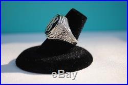 Men's 14k White Gold & Onyx Vintage Signet Ring Letter B Initial, Size 7
