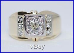 Men's 14k Yellow Gold Old European Cut Diamond Vintage Ring Size 8.5