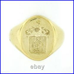 Men's Antique 18k Yellow Gold Engraved Seal Polished Large Heavy Signet Ring