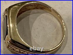 Men's Black Onyx 10k Solid Yellow Gold Ring Vintage Ring Estate Diamonds