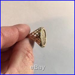 Men's COIN/Medal Ring 9ct Gold Quality Size R Weight 4.9g Vintage