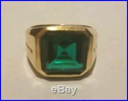 Men's Emerald Cut Emerald 14K GOLD SZ 10.5 KSK VINTAGE 1950S