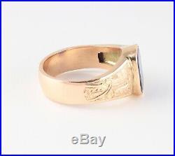 Men's Gents Vintage 14Ct 14K Gold & Sapphire Signet Ring