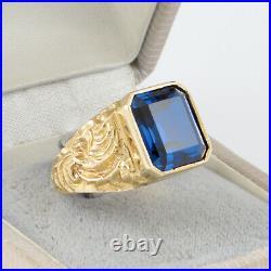Men's Gents Vintage 9Ct 9K Gold Signet Ring With Blue Spinel