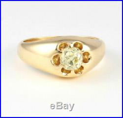 Men's Gents Vintage 9Ct Gold Ring With Solitaire Diamond 1.10 carat