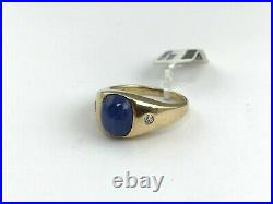Men's JTC Vintage 14KY Gold Genuine Star Sapphire Ring withDiamond Accents, 6.9 GR