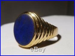 Men's Lapis 18K Yellow Gold Ring Vintage Oval Shape 8.1 Grams Size 10.25 Estate