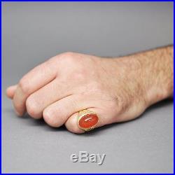 Men's Large Vintage 1970s 18k Gold & Red/Orange Agate Ring