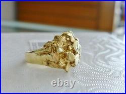 Men's Nugget Ring Vintage 10K Yellow Gold