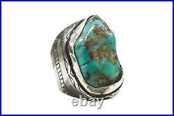Men's Old Pawn Vintage Navajo Sterling Silver Turquoise Heavy Ring Size13 #M11