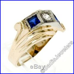 Men's Retro Vintage 1940's 14K Gold 0.22ct Diamond Sapphire 3 Stone Bypass Ring