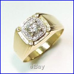 Men's Vintage 0.30ct Diamond Pinky Ring 14k Solid Yellow Gold Size 8