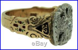 Men's Vintage 10K Gold Scottish Rite Freemason Double Eagle Diamond Enamel Ring