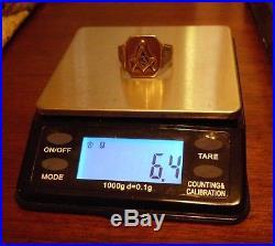 Men's Vintage 10 KT Gold Masonic Ring 6.4 grams SIZE 9