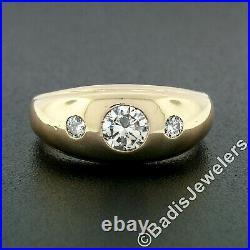 Men's Vintage 14K Gold 0.74ctw 3 Stone Burnish Diamond Domed Polished Band Ring