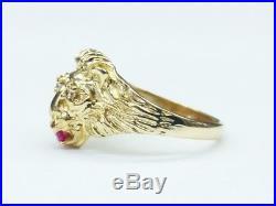 Men's Vintage 14K Gold Roaring Lion Ring. Solid 14k Yellow Gold