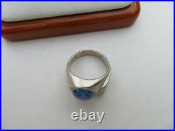 Men's Vintage 14K White Gold Diamond Star Sapphire Ring 7.7 Grams Size 6.25