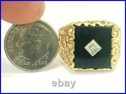 Men's Vintage 14K Yellow Gold Onyx & Diamond Nugget Style Ring Size 10, 7 Grams
