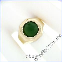 Men's Vintage 14k Gold Octagon Ring with Bezel Set 11mm Round Cabochon Green Jade