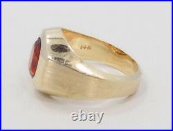 Men's Vintage 14k Solid Yellow Gold Dark Citrine Solitaire Ring 9 1/4 13.1 Gr