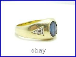 Men's Vintage 14k Solid Yellow Gold Sapphire & Diamond Ring 8 1/4 5.7 Grams