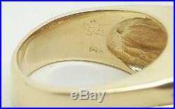 Men's Vintage 14k Yellow Gold 2.92Ct Emerald Cut Diamond & Sapphire Ring 18.2 Gr