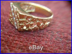 Men's Vintage 14k Yellow Gold Nugget Ring With Channel Set Diamonds Sharp
