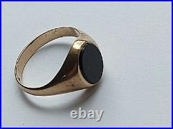 Men's Vintage 9CT Gold Black Onyx Signet Ring