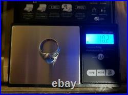Men's Vintage Blue Star Sapphire 14K White Gold Diamond Ring size 7.5
