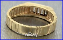 Men's Vintage Estate 14K 585 Yellow Gold 0.20ctw Baguette Diamond Row Band Ring