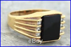 Men's Vintage Estate 14K 585 Yellow Gold Black Onyx Diamond Cocktail Ring