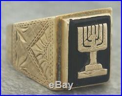Men's Vintage Estate 14K 585 Yellow Gold Judaic Menorah Black Onyx Sun Ring
