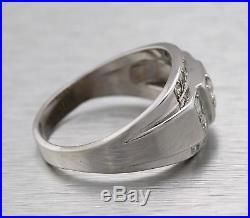 Men's Vintage Estate 14K White Gold 1.44ctw Diamond Wedding Band Ring