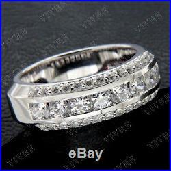 Men's Vintage Estate 14K White Gold Fn Round 2.70 Ct Diamond Wedding Band Ring