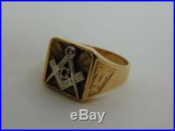 Men's Vintage Estate 14K Yellow Gold Free Masons Ring with Diamond 9.6g E1786