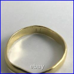 Men's Vintage Handmade Wedding Band Ring 22K Yellow Gold, Size 7.5, 2.79 Grams
