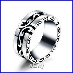 Men's Vintage Wedding Band Ring 14k White Gold Finish Size 7-14