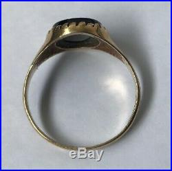Men's/Women's 9ct Gold Vintage Onyx Stone Signet Ring Size T Weight 2.7g Stamped