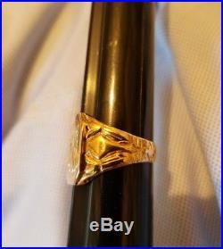Men's gold vintage initial ring. 10K Yellow Gold, American, 7.32 Grams