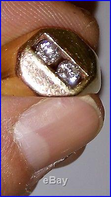 Men's ring size 10 14k gold diamond ring vintage