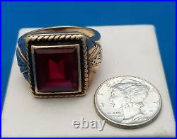 Mens 10 K & Ruby Ring. FREE 3 DAY PRIORITY SHIPPING