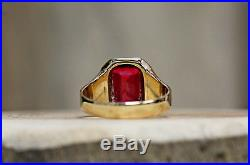 Mens 10 Kt Yellow Gold Vintage Spinel Ring Size 11