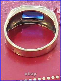 Mens 10k Solid Yellow Gold Blue Spinel Vintage Ring Size 9