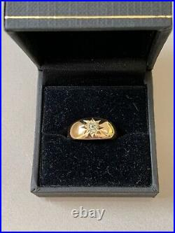 Mens 18k Vintage Gold Ring with Old Mine Cut Diamond Size 7
