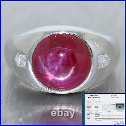 Mens 1930 Antique Art Deco Platinum 9.25ctw Natural Star Ruby & Diamond Ring EGL